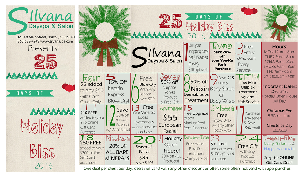 25 Days of Holiday Bliss, Holiday, Christmas specials, Spa specials, spa holiday 2016, hair, makeup, yon-ka, yonka, massage, manicure, pedicure, wella, sebastian, holiday promo, spa holiday promo, spa promo,