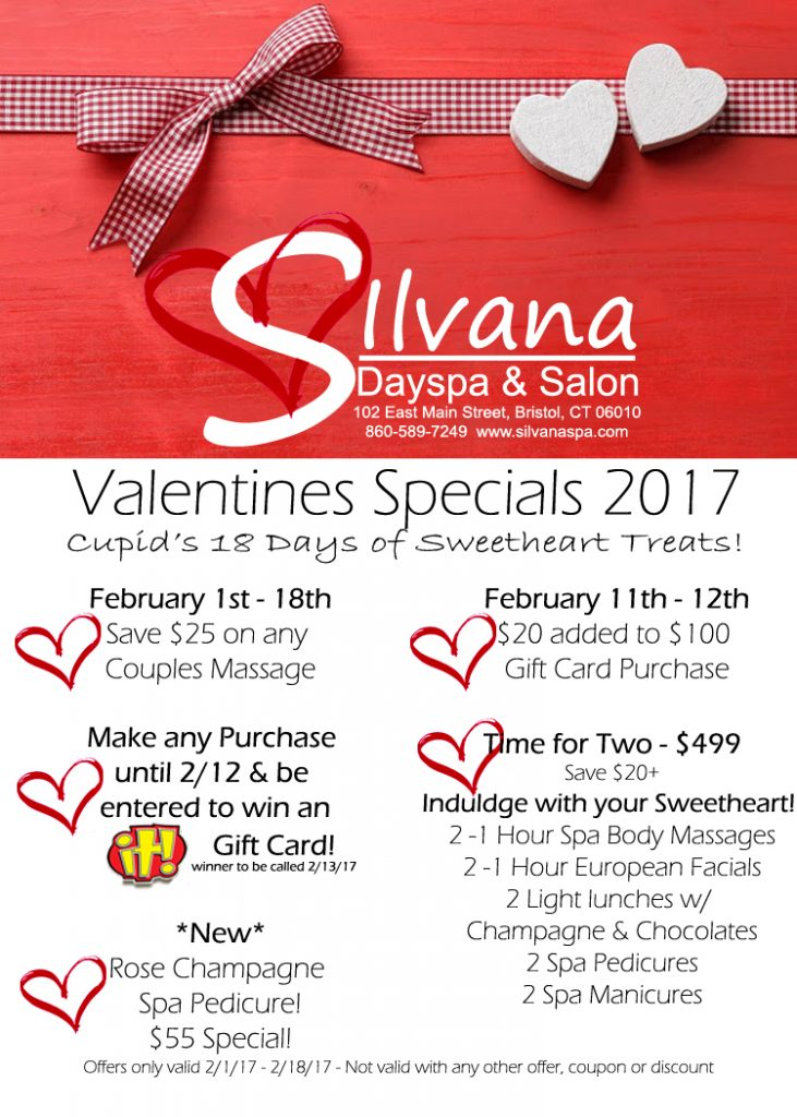 valentines day, spa, valentines, valentine, spa package, spa day, couples massage, gift card, bristol, bristol ct, connecticut, silvana, salon,