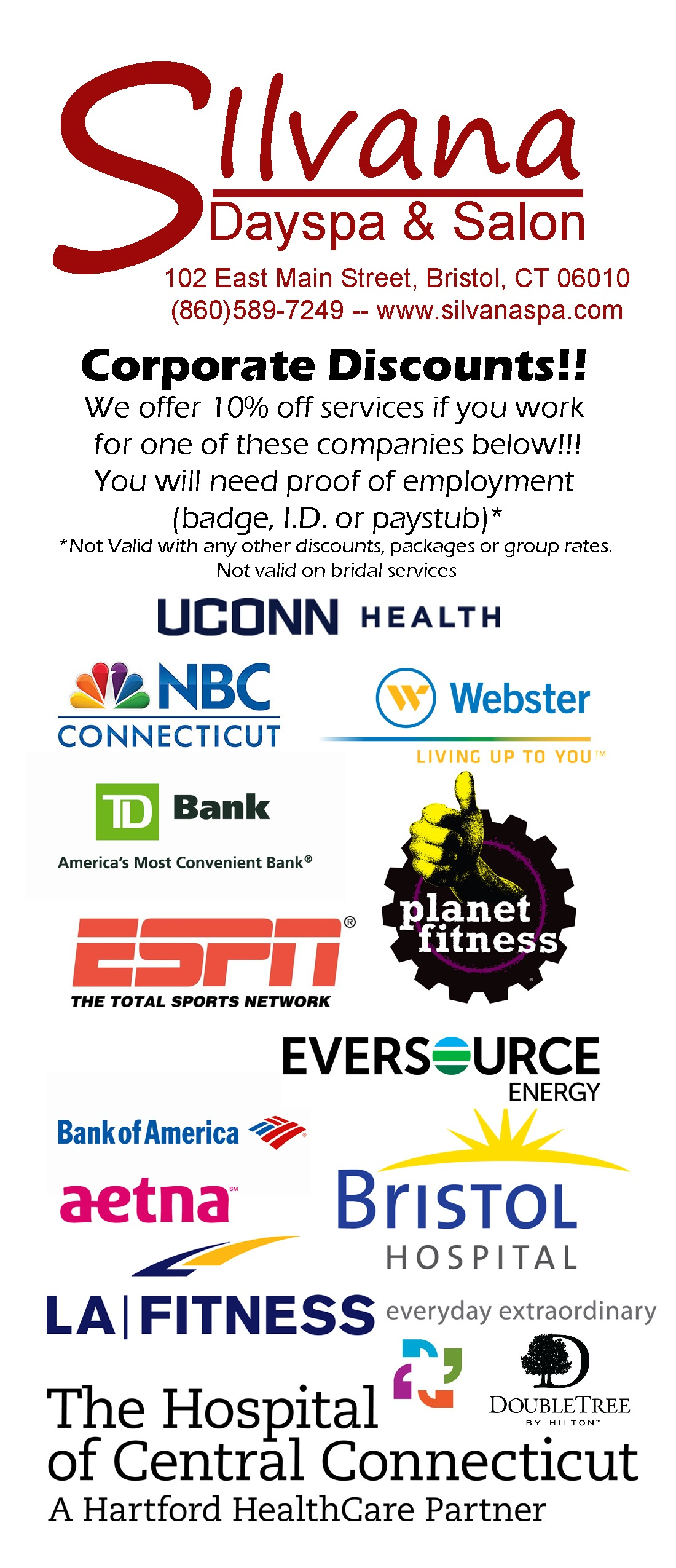 uconn, nbc, webster bank, td bank, planet fitness, espn, eversource, bank of america, aetna, bristol hospital, la fitness, the hospital of central connecticut, double tree, spa discount, spa, discount, corporate discount, salon, bristol, bristol CT,
